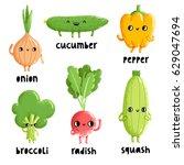 veggie characters set 2 ... | Shutterstock .eps vector #629047694