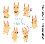 cute rabbits vector set | Shutterstock .eps vector #629050958