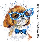 cute dog watercolor... | Shutterstock . vector #629052008