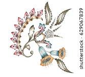 decorative flower motif | Shutterstock . vector #629067839