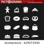 bakery products vector icons... | Shutterstock .eps vector #629071940