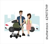 young family with a baby in a... | Shutterstock .eps vector #629073749