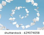 vector empty papers flying in... | Shutterstock .eps vector #629074058