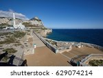 """Small photo of Gibraltar, southern tip of the peninsula, """"Europa-Point"""", with monkey rock and the Ibrahim al-Ibrahim Mosque"""