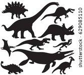 set of dinosaurs design isolate ... | Shutterstock .eps vector #629085110