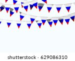 russia flag festive bunting... | Shutterstock . vector #629086310