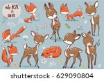 Stock vector set with cute fox mouse and deer 629090804