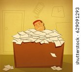 exhausted businessman over... | Shutterstock . vector #629091293