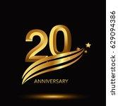20 years anniversary... | Shutterstock .eps vector #629094386