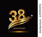 38 years anniversary...   Shutterstock .eps vector #629094593