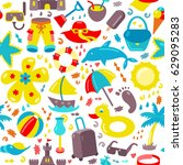 vector beach pattern for summer.... | Shutterstock .eps vector #629095283