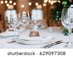 creative place pointer on plate | Shutterstock . vector #629097308