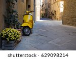 scooter standing at the empty... | Shutterstock . vector #629098214