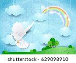 surreal landscape with dove and ... | Shutterstock .eps vector #629098910