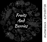 fruits and berries hand drawn... | Shutterstock .eps vector #629100728