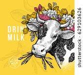 farm cow design template. cow... | Shutterstock .eps vector #629103626
