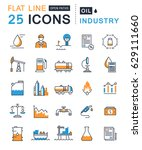 set  line icons with open path... | Shutterstock . vector #629111660
