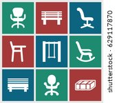 seat icons set. set of 9 seat... | Shutterstock .eps vector #629117870