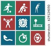 training icons set. set of 9... | Shutterstock .eps vector #629124050