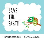 cute chameleon save the earth... | Shutterstock .eps vector #629128328