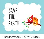 cute chameleon save the earth... | Shutterstock .eps vector #629128358