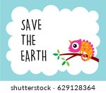 cute chameleon save the earth... | Shutterstock .eps vector #629128364