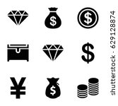 rich icons set. set of 9 rich... | Shutterstock .eps vector #629128874