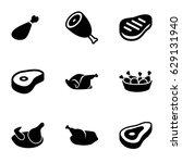 Roast Icons Set. Set Of 9 Roas...