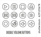 doodle volume buttons set. hand ... | Shutterstock .eps vector #629135678