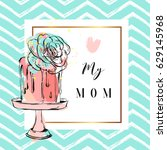 hand drawn vector greeting card ... | Shutterstock .eps vector #629145968