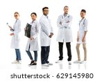 group of young confident... | Shutterstock . vector #629145980