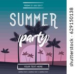 summer party vector poster. | Shutterstock .eps vector #629150138