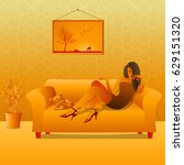 woman sitting on a couch with a ... | Shutterstock . vector #629151320