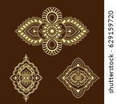 henna tattoo flower template....   Shutterstock .eps vector #629159720