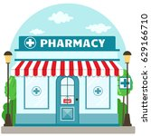 facade pharmacy store with a... | Shutterstock .eps vector #629166710