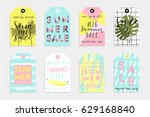 summer gift tags and labels... | Shutterstock .eps vector #629168840