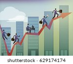 business executives moving up... | Shutterstock . vector #629174174