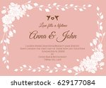 wedding card   white abstract... | Shutterstock .eps vector #629177084