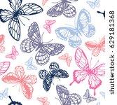 vector butterflies pattern....   Shutterstock .eps vector #629181368