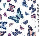 vector butterflies pattern.... | Shutterstock .eps vector #629181380