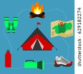 tent surrounded with camping or ... | Shutterstock .eps vector #629182274