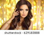beautiful fashion woman in gold.... | Shutterstock . vector #629183888