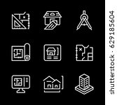 set line icons of architectural | Shutterstock .eps vector #629185604