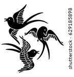 silhouette of swallows | Shutterstock .eps vector #629185898