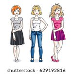 happy young adult girls female... | Shutterstock .eps vector #629192816