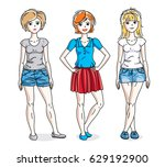 happy young adult girls female... | Shutterstock .eps vector #629192900