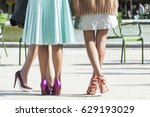 Legs With Colored Shoes. Three...