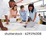 young business team work... | Shutterstock . vector #629196308