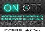 big turquoise neon set glowing... | Shutterstock .eps vector #629199179
