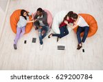 group of young friends hug ... | Shutterstock . vector #629200784
